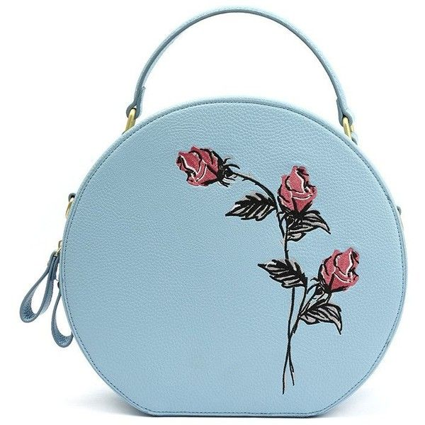 Blue and Pink Rose Hat Box Style Purse found on Polyvore featuring bags, handbags, rose purse, strap purse, stripe handbag, pink hand bags and embroidered handbags