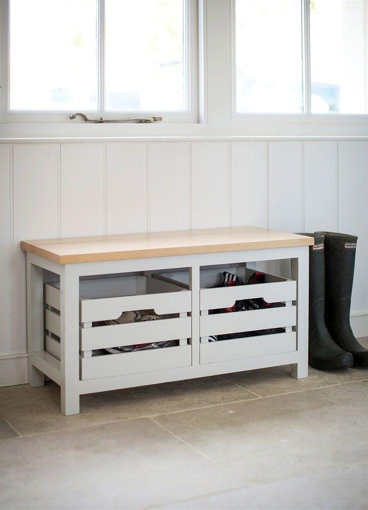 Emsworth Storage Bench With 2 Chalk Crates