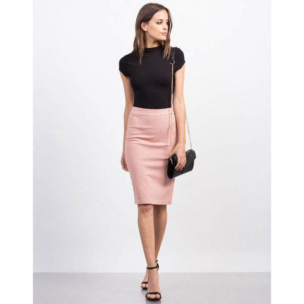 Side Zipper Pencil Skirt ($17) ❤ liked on Polyvore featuring skirts, knee length skirts, stretch pencil skirt, white skirt, knee length pencil skirt and knee high skirts