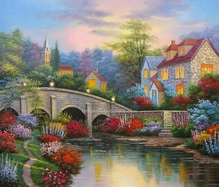 yorker shoes directions The Perfect Little Village   flowers  colors  bridge  painting  path  house  village  thomas kinkade  brook