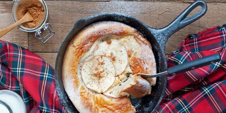 Een luchtige pannenkoek met een dikke rand: dutch baby is een heerlijk ontbijt- of nagerecht. Dit heb je nodig voor4 personen 3 eieren 2 el fijne tafelsuiker 150 ml melk 100 g bloem ½ tl kaneel   extra om te bestrooien 1 Royal Gala-appel met schil citroensap om te besprenkelen 25 g boter extra nodig:…