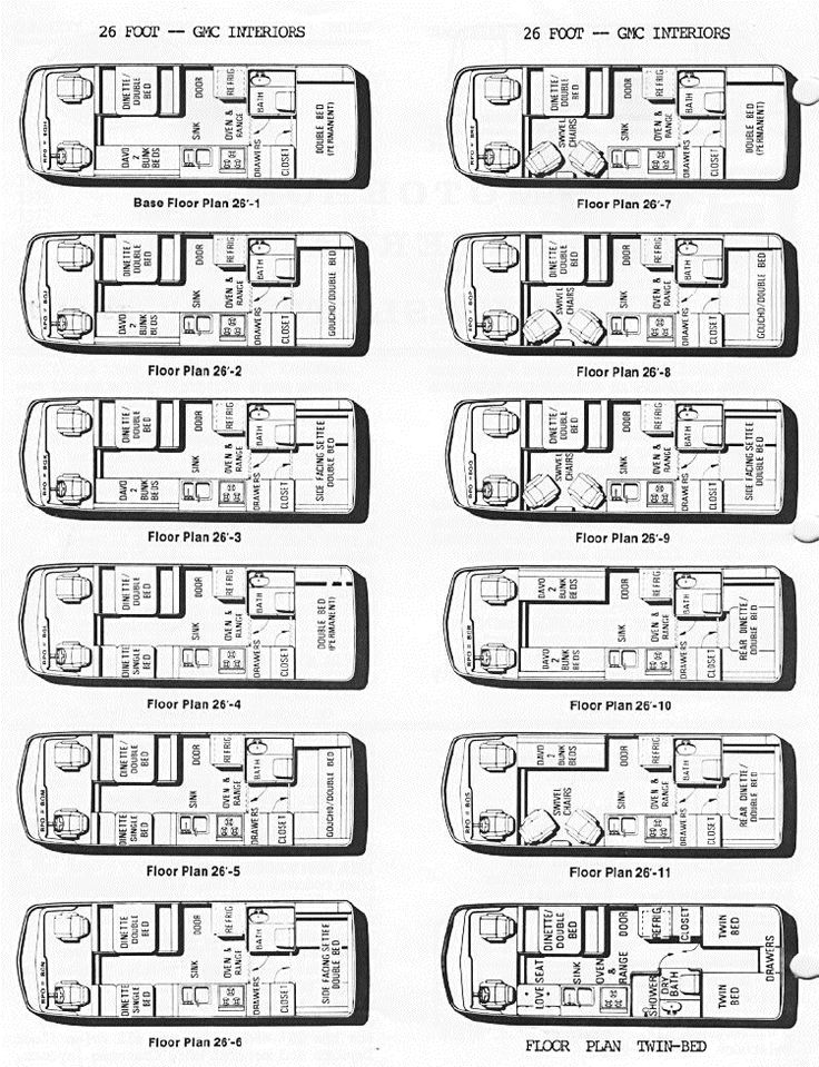 Interior layouts for 26ft GMC Motorhomes