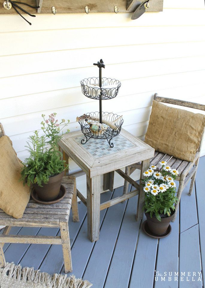 Rustic front porch, by The Summery Umbrella, featured on Funky Junk Interiors