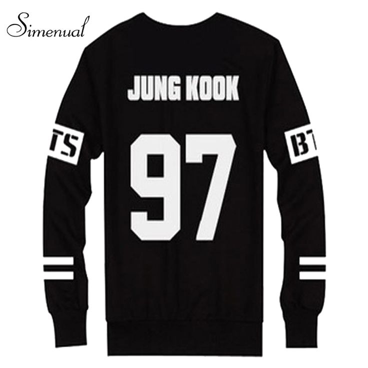 Hot sale couple BTS sweatshirts number letter print black moletom feminino harajuku 2016 long sleeve casual clothes for women