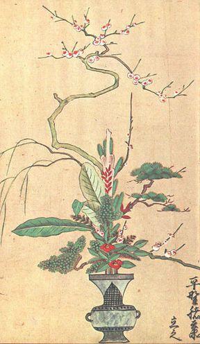 Sumiyoshi Gukei, ikebana flower arrangement (c.1700)