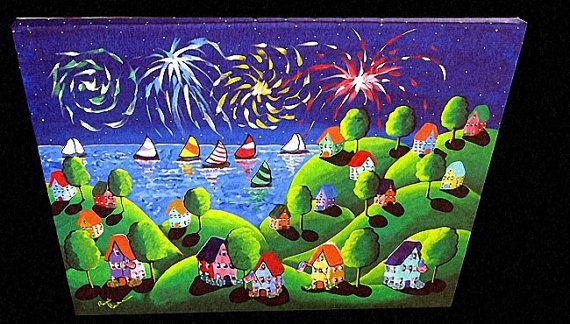 Barche a vela case di fuochi d'artificio di di reniebritenbucher