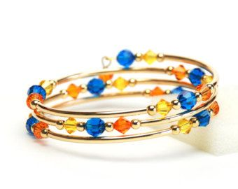 Florida Memory Wire Bracelet - Blue and Orange Crystal Bracelet