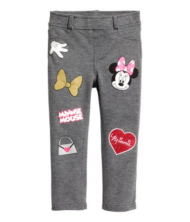 Dark gray/Minnie Mouse. Treggings in thick jersey with a printed design. Elasticized waistband and mock fly. Mock front pockets and regular back pockets.