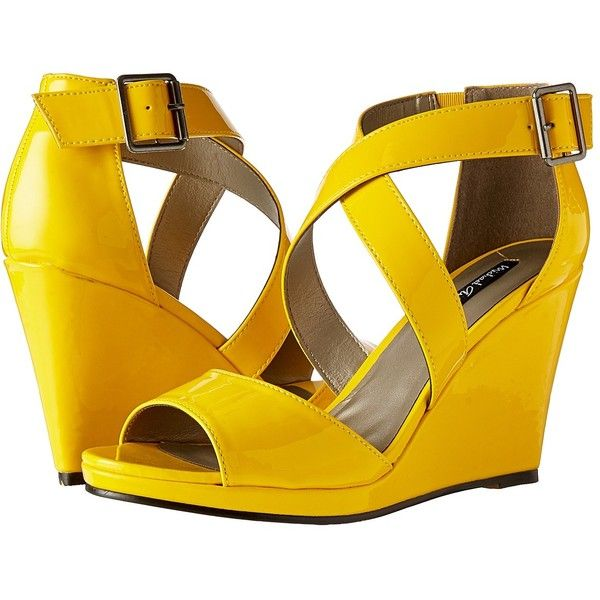 Michael Antonio Amis (Yellow) Women's Wedge Shoes ($49) ❤ liked on Polyvore featuring shoes, sandals, yellow wedge shoes, platform wedge sandals, wedge sandals, wedges shoes and wedge heel sandals