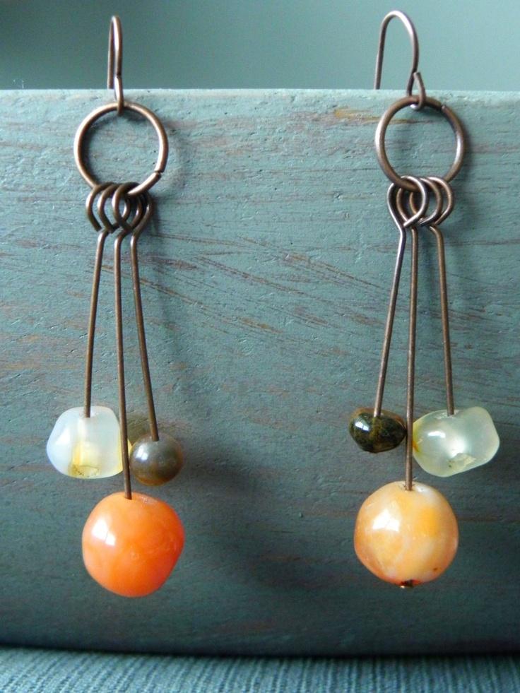 Chandelier Earrings - Orange Agate on Copper Wire. $22.00, via Etsy.