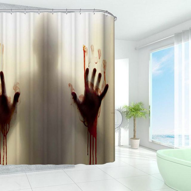 New Design Bloody Bathroom Waterproof Polyester Shower Curtains Bath Bathing Sheer Curtain  Home Decoration