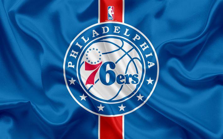 Download wallpapers Philadelphia 76ers, Basketball Club, NBA, emblem, logo, USA, National Basketball Association, Silk Flag, Basketball, Philadelphia, Pennsylvania, US Basketball League, Atlantic Division