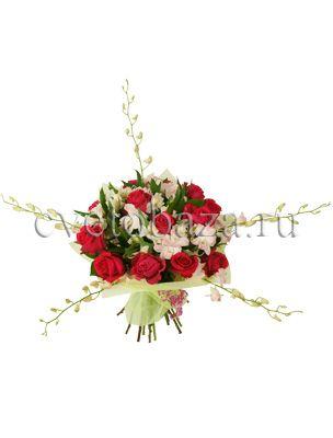 НАДЕЖДА  Яркие и сочные краски этого букета поднимают настроение. Алая роза утопает в невесомом облаке белоснежной альстромерии а изящные побеги орхидеи дендробиум раскинулись в стороны готовые, кажется, обнять весь мир!