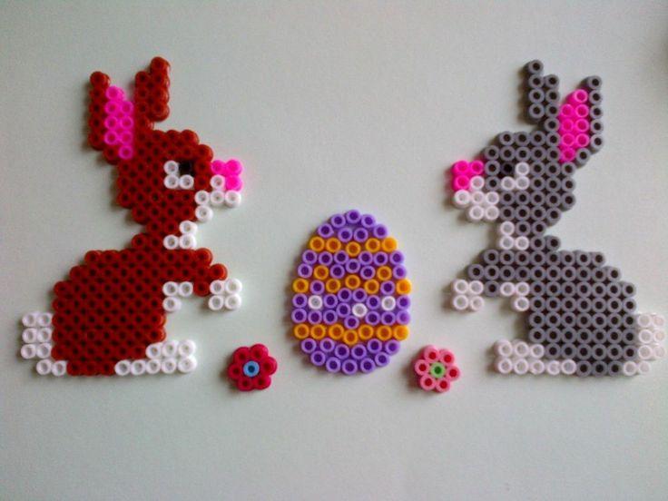 Easter Decorations Set - bunny, flowers, egg - hama perler beads by Cristina Moran