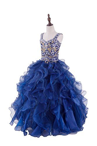 PuTao Big Girls Princess Gold Rhinestones Crystal Pageant Party Gowns Dresses 12 Navy Blue ** More info could be found at the image url.Note:It is affiliate link to Amazon.