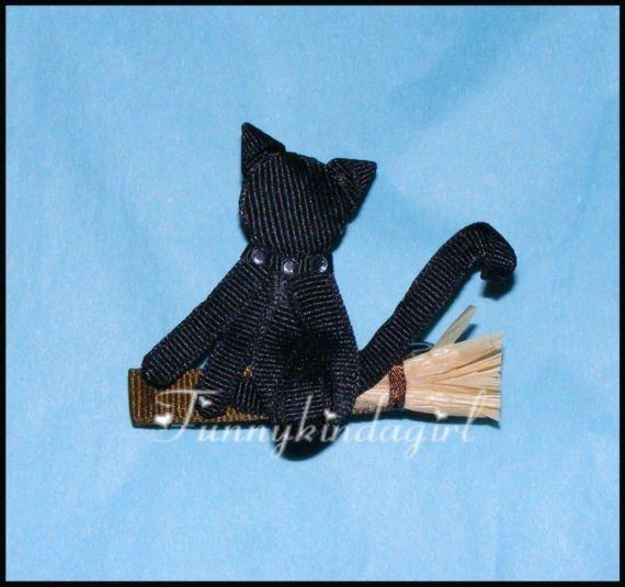 Halloween Ribbon Sculptures | ... Cat Witch's Hair Clip