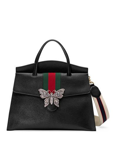 3b2c558cebb6 GUCCI LINEA TOTEM LARGE LEATHER TOP-HANDLE BAG WITH BUTTERFLY & WEB STRAP. # gucci #bags #tote #lining #shoulder bags #crystal #suede #hand bags #