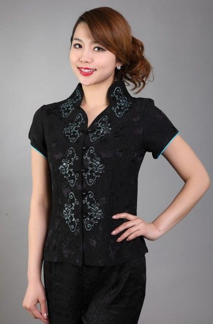 Free Shipping Fashion Black Chinese Women's clothing Polyester Satin Blouses Shirt tops Flower Size M L XL XXL XXXL TD11-B #Satin blouses http://www.ku-ki-shop.com/shop/satin-blouses/free-shipping-fashion-black-chinese-women-s-clothing-polyester-satin-blouses-shirt-tops-flower-size-m-l-xl-xxl-xxxl-td11-b/