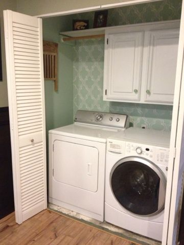 *Color *Wallpaper *Cupboard (other Side) *Hanging Rod *Extra Shelf Above. I  Love The Wall Paper In The Laundry Room Idea