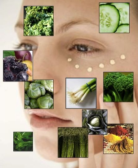 VITAMIN K helps to strengthen the capillaries and reduce DARK CIRCLES (our capillaries can become weak due to heredity, pregnancy or sun damage, and lead to the development of dark circles). Apply Vitamin K cream and eat foods with Vitamin K two times a day for the best results.  Also, sleep as much as your body demands, apply almond oil under the eye before going to bed and/or place cold tea bags on the eyes for some time and relax.   Here's a list of the TOP 10 FOODS Highest in Vitamin K!