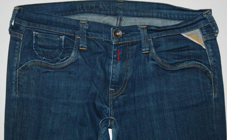 REPLAY JEANS WV552 032 INDIGO BLUE STRAIGHT LEG STRETCH SLIM LOW RISE W31 L32