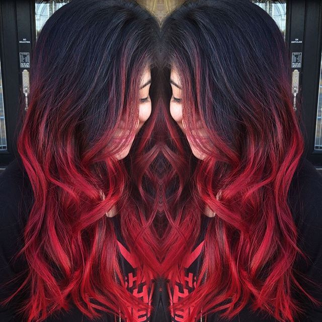 Who else is in love with this red????? I used all Pravana to achieve the color (including lightner) Haircut done by the super talented @dr.actually_ ❤️ I started out doing a balayage then pulled Pravana red from scalp to ends