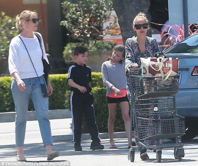 Family: Nicole Richie spotted on a shopping outing in Studio City with her children Harlow, nine, and Sparrow, seven; she was joined by sister-in-law Cameron Diaz