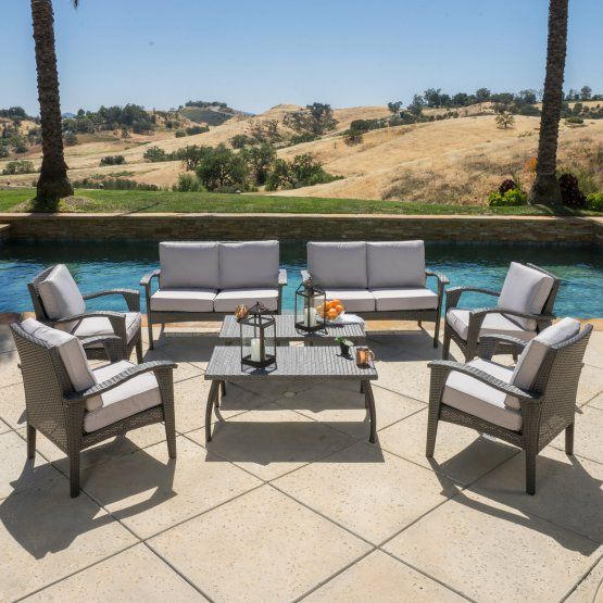 Best Selling Home Decor Waikiki Wicker 8 Piece Patio Conversation Set with Cushions