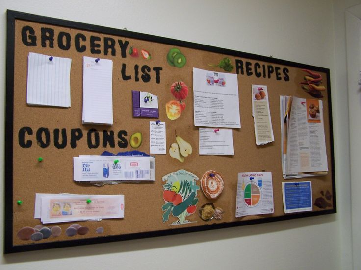 Kitchen Bulletin Board E For Our Grocery Lists Coupons And Recipes Used An