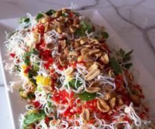 Shredded Chicken Rice Noodle Salad with Nuoc Cham dressing