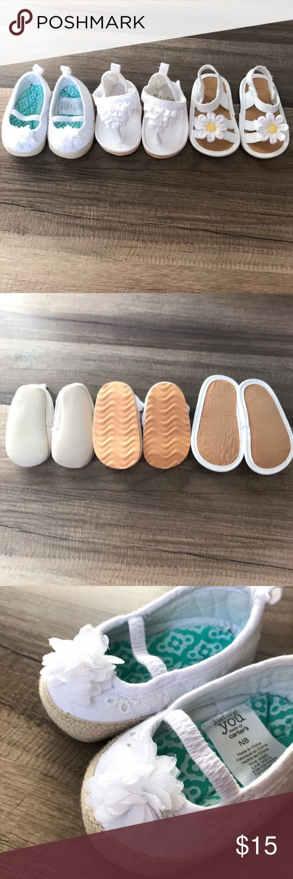 3 Pairs NB white Sandals 3 pairs of white sandals, all sized NB, in very good condition! White ruffle sandals has small blue spot on back (last photo). Brands are Carters and Gymboree.   #carters #gymboree #whitesandals #babygirlshoes #shoelot Gymboree Shoes Sandals & Flip Flops