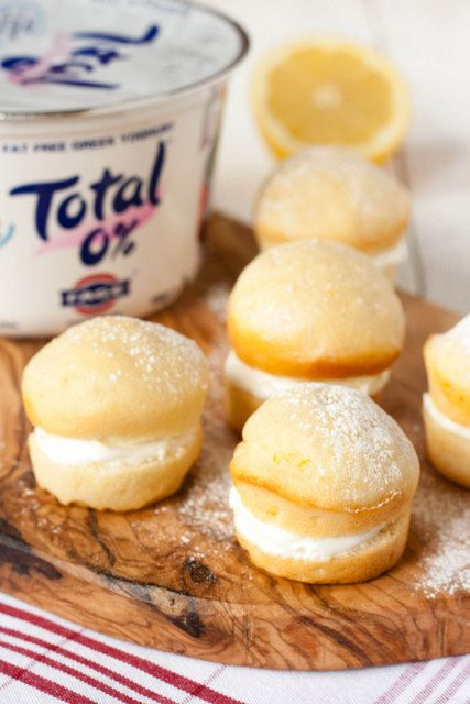 Bite sized low fat mini lemon cakes made using and filled with Total Greek Yogurt