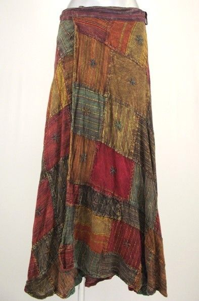 Hippy Skirt~Bohemian Patchwork Wrap Maxi Skirt~Fair Trade By Folio~N014SK3 - .good colors, downward flow, wear with a big, flowey button down cream shir with a thick belt around the waisst