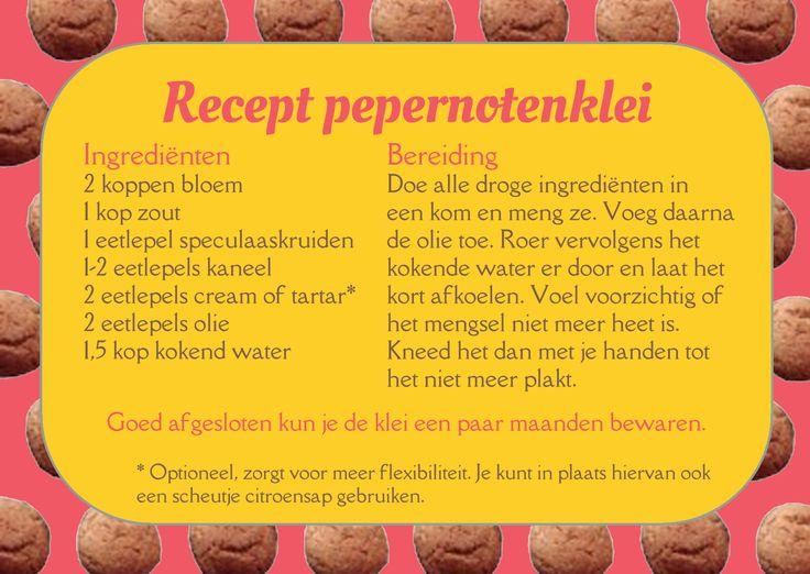 Recept voor de bereiding van pepernoten- (of speculaas)klei, met veilige ingrediënten. Leuk voor peuters, kleuters en kinderen als Sinterklaas in het land is.