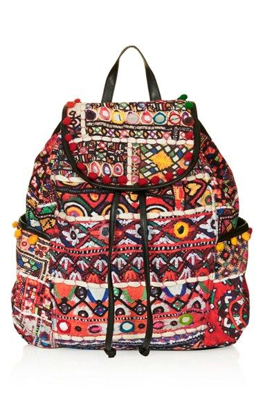 Topshop 'Cuzco' Pompom Trim Embroidered Backpack available at #Nordstrom