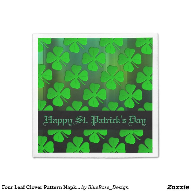 Four Leaf Clover Pattern Napkins Standard Cocktail Napkin | Matching paper plates also available.