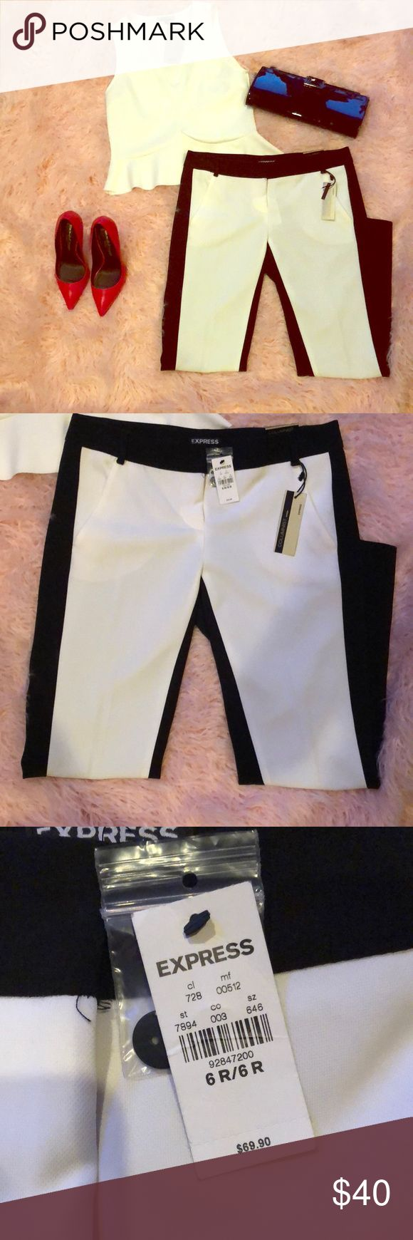 Express black and white slacks Unique and stylish slacks.  Express black and white slacks size 6R.  Columnist, low rise, ankle fitted through hip and thigh. New with tags Express Pants Ankle & Cropped