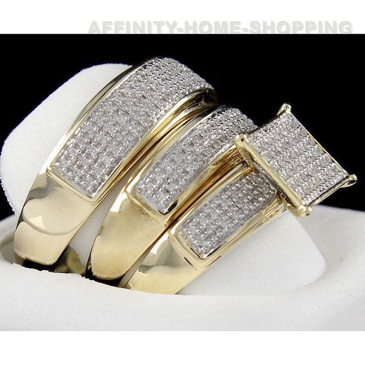 Diamond 1/3ct Trio 14K Gold Finish 925 engagement band bride groom set Certified #AffinityHomeShopping