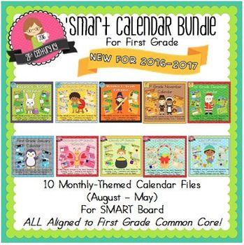 Get 10 Interactive Calendar Smart Files August through May and SAVE $10! That's like getting 2 months for FREE!Revised for 2016!Your students will LOVE these calendars and Calendar Time will quickly become one of your FAVORITE times of the school day Daily activities are aligned to Common Core Math Standards for First Grade.Slides are interactive so that students can join in on the action as the month progresses.You can view each month as a separate listing HEREThis set includes:1…