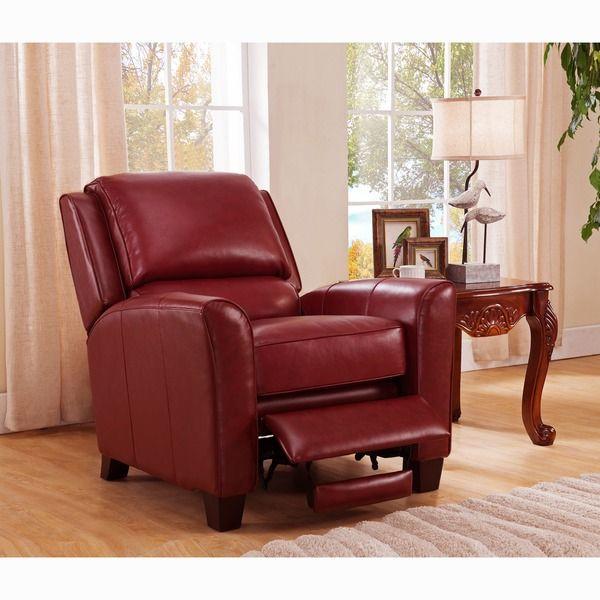 Carnegie Crimson Red Premium Top Grain Italian Leather Recliner Chair
