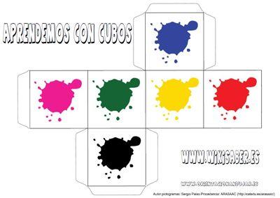 Actividad destinada a las primera etapas, para aprender los colores con dados de papel.