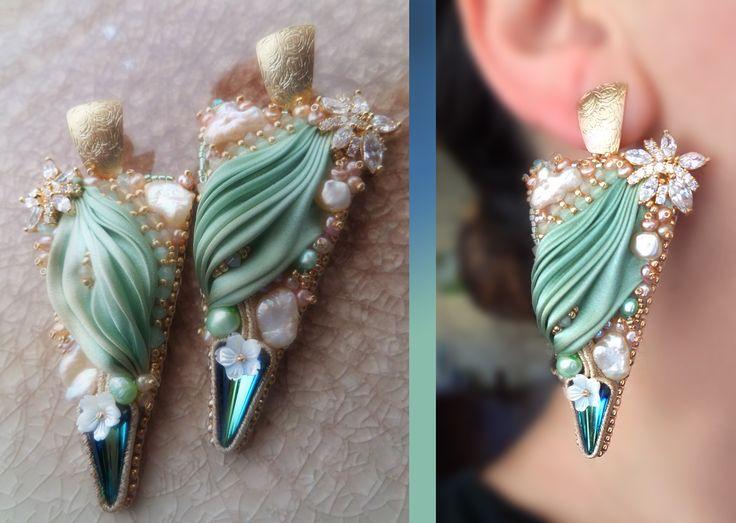 EARRINGS beadembroidery, shibori silk, swarovski