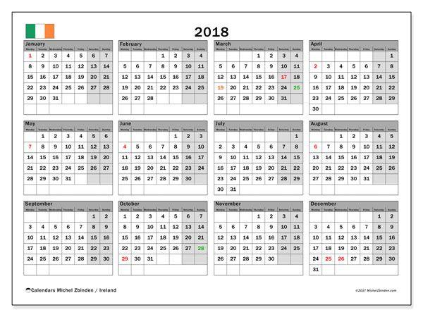 Calendar 2018, with the holidays of Ireland. Free printable calendar.