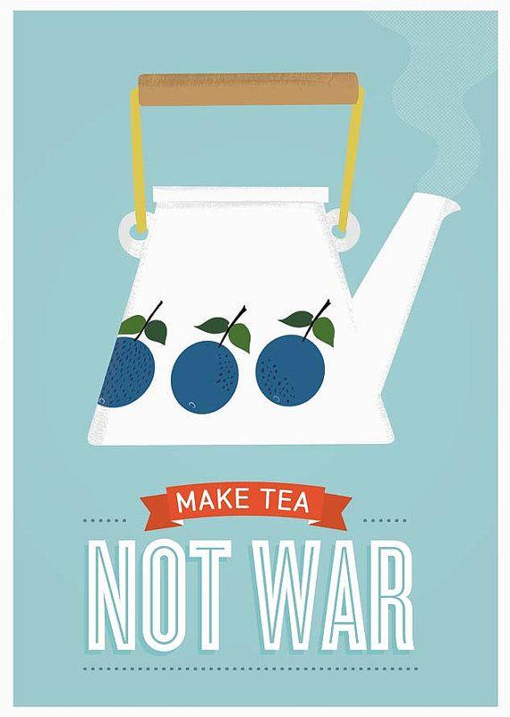 yes. this. :: Tea print Stig LIndberg Prunus Mid century art Kitchen by handz