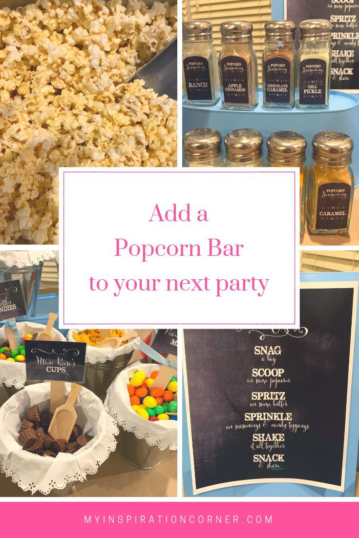 A popcorn bar is the perfect food bar idea for so many holidays and events. Great as a graduation party, wedding party and birthday party ...