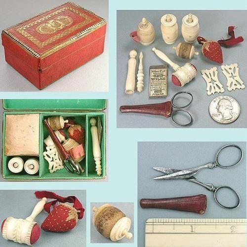 Antique Georgian Child's Sewing Box & Tools * English * Circa 1810