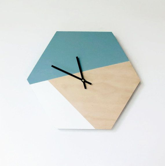 Hexagon Wall Clock Trending Hexagon Decor  Home by Shannybeebo