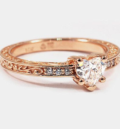Delicate Antique 14K Rose Gold Heart Ring, i like it better with a round stone though