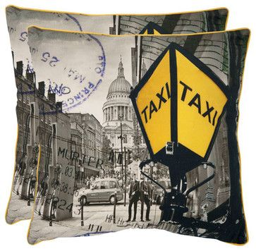 Belgrade 20-Inch Yellow and Grey Decorative Pillows - Set of Two traditional bed pillows and pillowcases