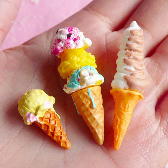 3D Miniature Ice Cream (Colorful / 23mm to 44mm) (3pcs) Kawaii Fake Miniature Sweets Cabochon Decoden Kitsch Jewelry Charms FCAB004 on Etsy, $3.95